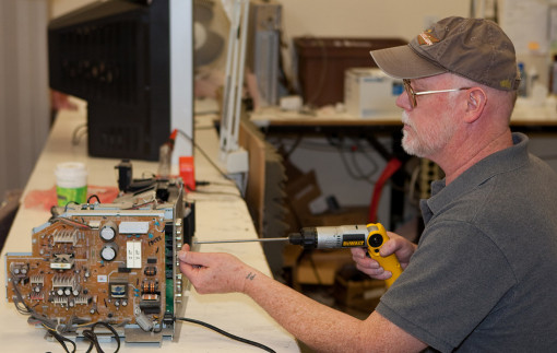 Pete working on a stereo